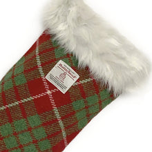 Load image into Gallery viewer, Red & Green Tartan Harris Tweed Christmas Stocking