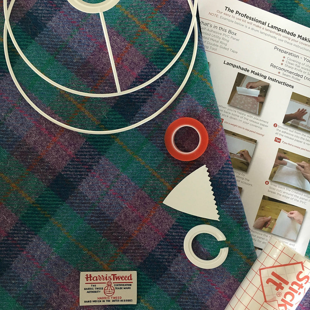 DIY Lampshade Kit - Violet & Kingfisher Blue Tartan Harris Tweed