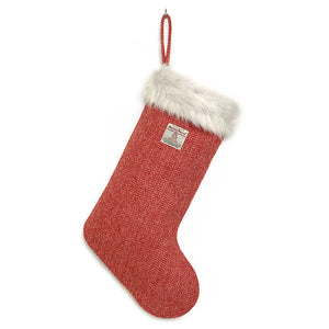 Red & White Herringbone Harris Tweed Christmas Stocking