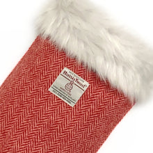 Load image into Gallery viewer, Red & White Herringbone Harris Tweed Christmas Stocking