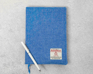 Cornflower Blue Harris Tweed Padded A5 Notebook Cover