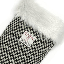 Load image into Gallery viewer, Black & White Houndstooth Harris Tweed Christmas Stocking