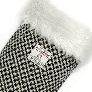 Black & White Houndstooth Harris Tweed Christmas Stocking