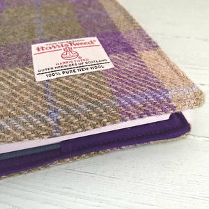 Lilac & Green Tartan Harris Tweed Padded A5 Notebook Cover