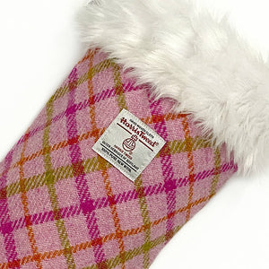 Pink Candy Check Harris Tweed Christmas Stocking
