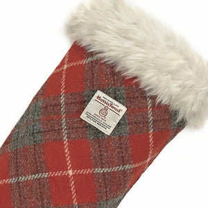Red & Grey Tartan Harris Tweed Christmas Stocking