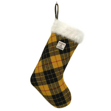 Load image into Gallery viewer, Yellow & Black MacLeod Tartan Harris Tweed Christmas Stocking
