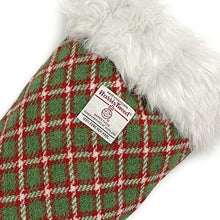 Load image into Gallery viewer, Green & Red Check Small Check Harris Tweed Christmas Stocking