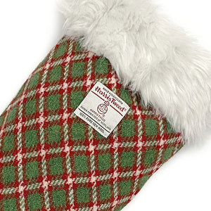 Green & Red Check Small Check Harris Tweed Christmas Stocking