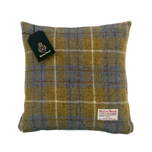 Load image into Gallery viewer, Blue & Mustard Tartan Harris Tweed Cushion Cover