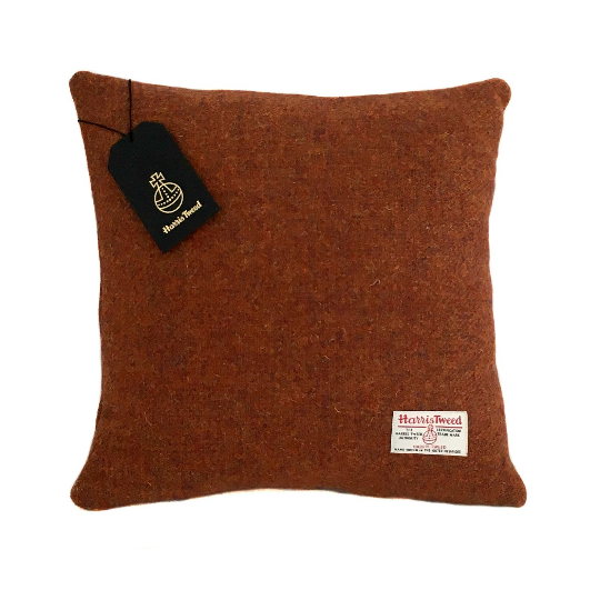 Copper Brown Harris Tweed Cushion Cover