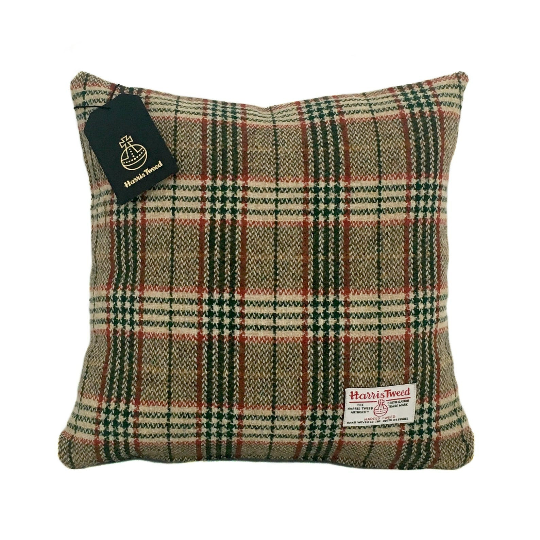 Cream, Green & Red Tartan Harris Tweed Cushion Cover