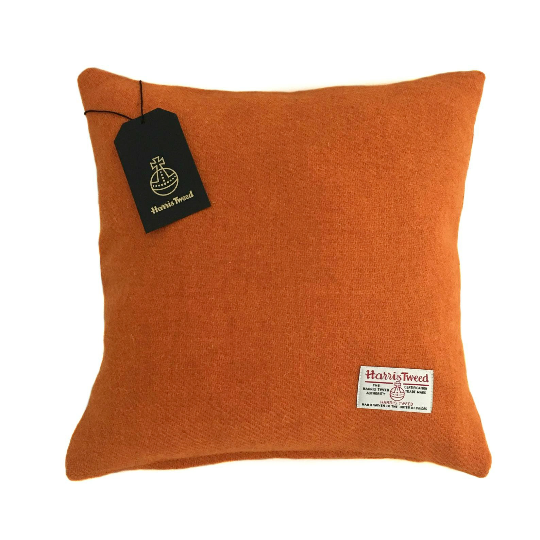 Orange Harris Tweed Cushion Cover