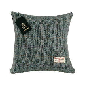 Rainbow Blue Herringbone Harris Tweed Cushion Cover