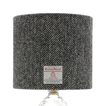 Load image into Gallery viewer, Black & White / Grey Herringbone Harris Tweed Lampshade