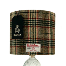 Load image into Gallery viewer, Cream, Green & Red Tartan Harris Tweed Lampshade
