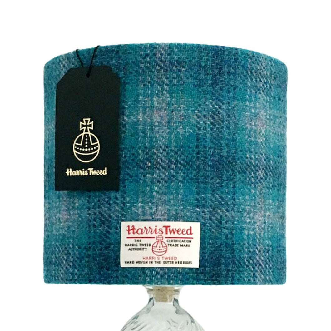 Glacier Blue & Grey Tartan Check Harris Tweed Lampshade