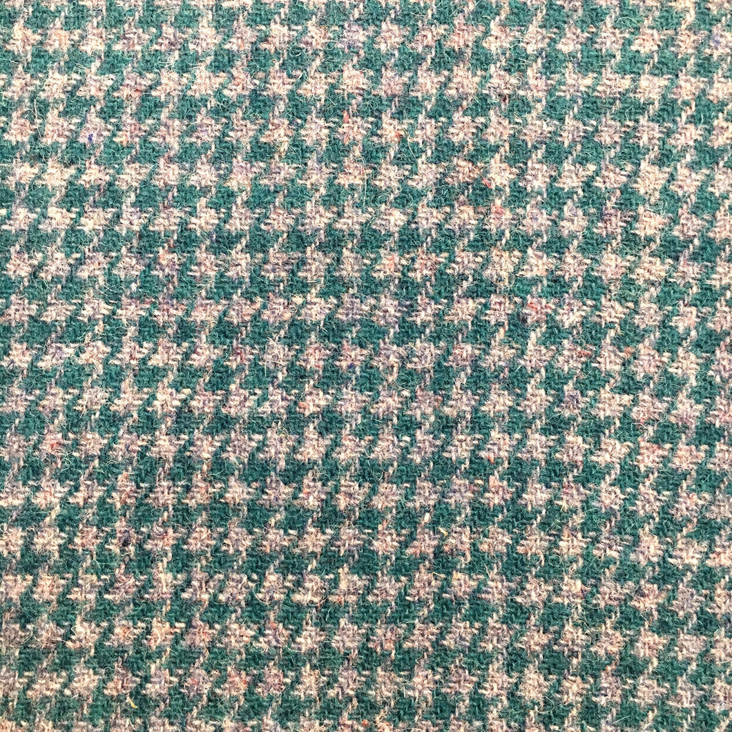 Green & Storm Blue / Grey Houndstooth Harris Tweed Cushion Cover