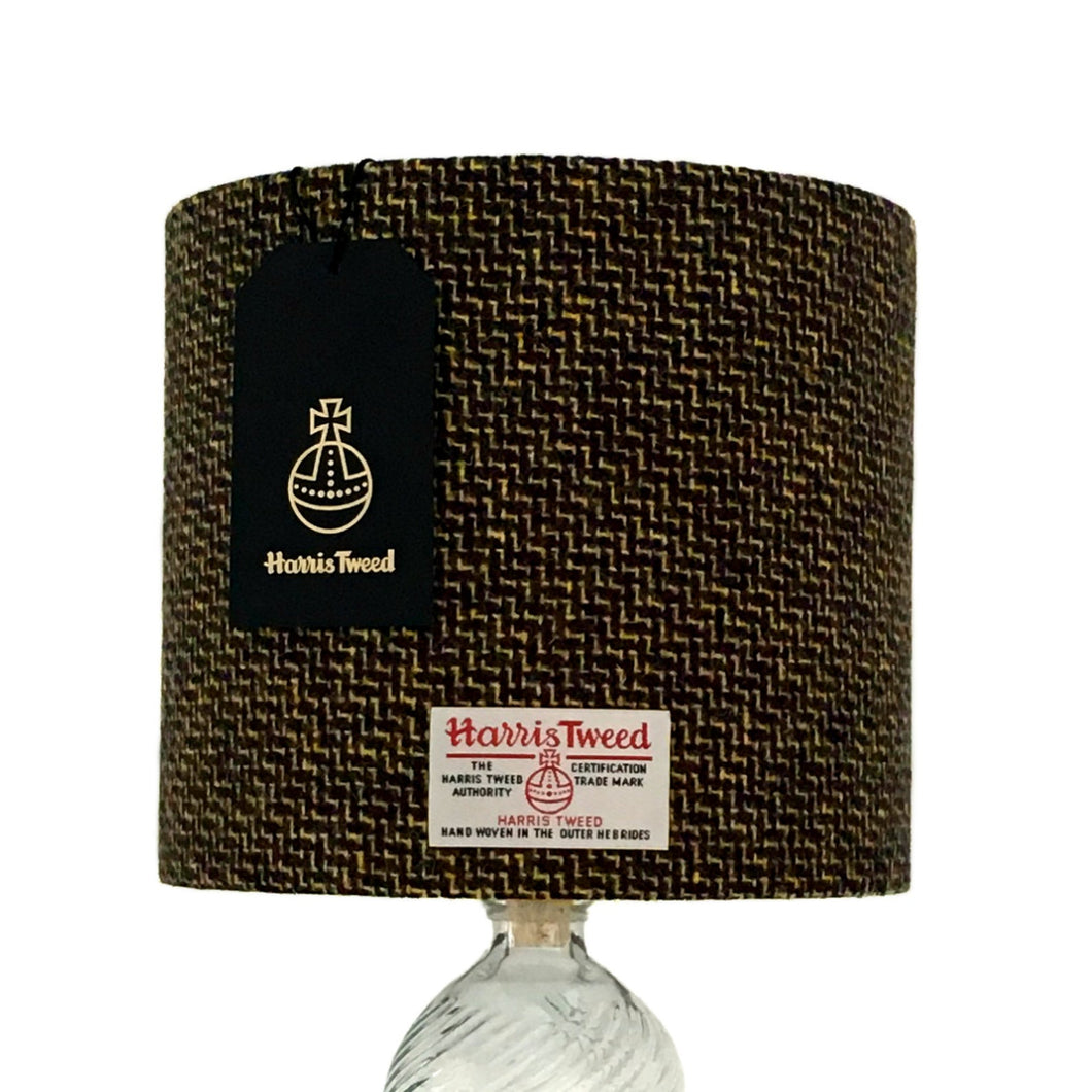Black & Lemon Yellow Tile Weave Harris Tweed Lampshade - 20% Discount Applied At Checkout