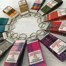 Load image into Gallery viewer, Orange & Grey Tartan Harris Tweed Keyring
