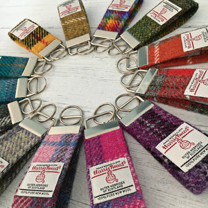 Orange & Grey Tartan Harris Tweed Keyring