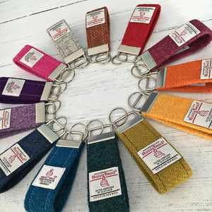 Rainbow Blue Herringbone Harris Tweed Keyring