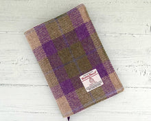 Load image into Gallery viewer, Lilac & Green Tartan Harris Tweed Padded A5 Notebook Cover