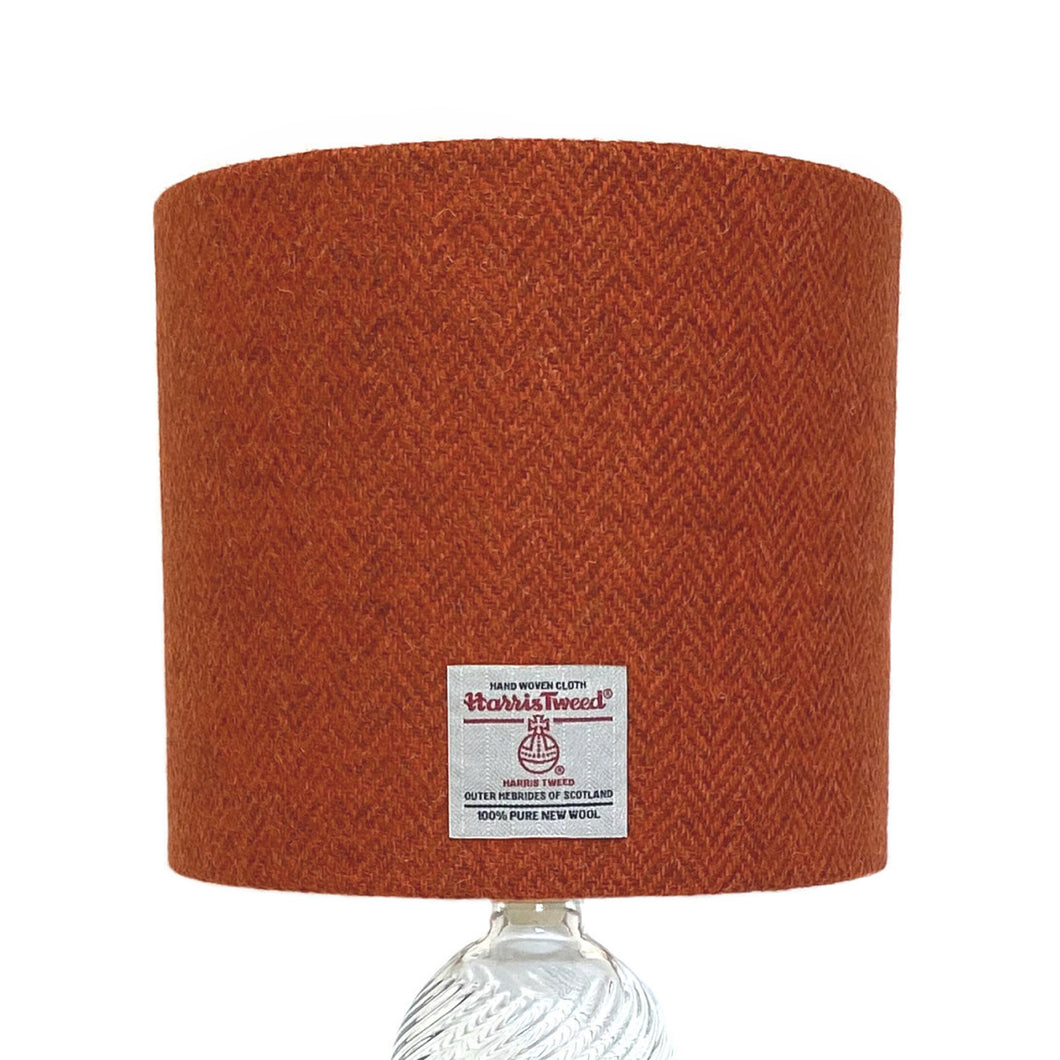 Burnt Orange & Brown Herringbone Harris Tweed Lampshade - 20% Discount Applied At Checkout