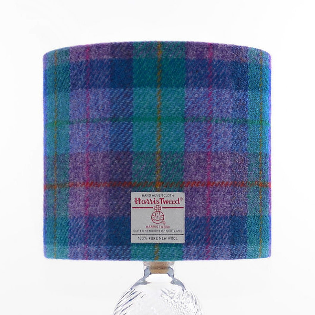 Violet & Kingfisher Blue Tartan Harris Tweed Lampshade