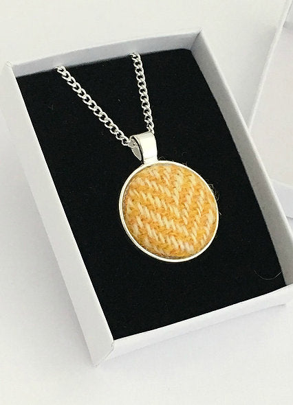 Yellow Herringbone Harris Tweed Necklace