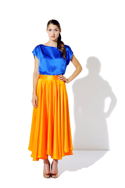 Kombination Blue / Naranja (Bluse + Rock)