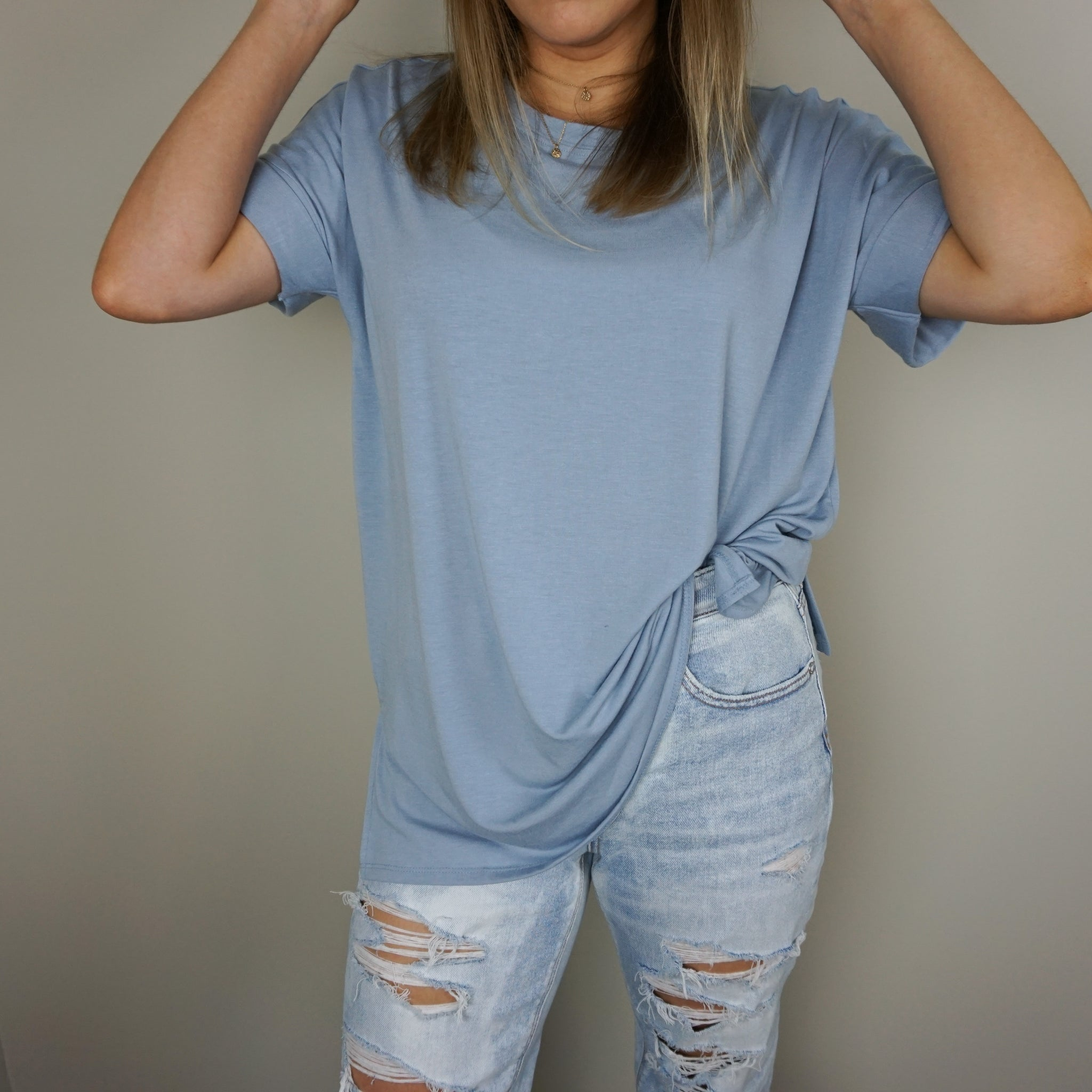 Short Sleeve Oversized Tee - Ash Blue