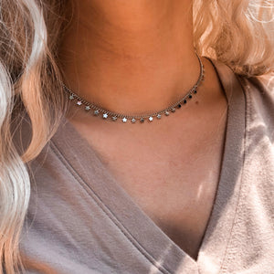 Twinkle Twinkle Silver Star Choker Necklace