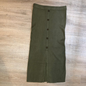 Sweater Midi Skirt - Olive