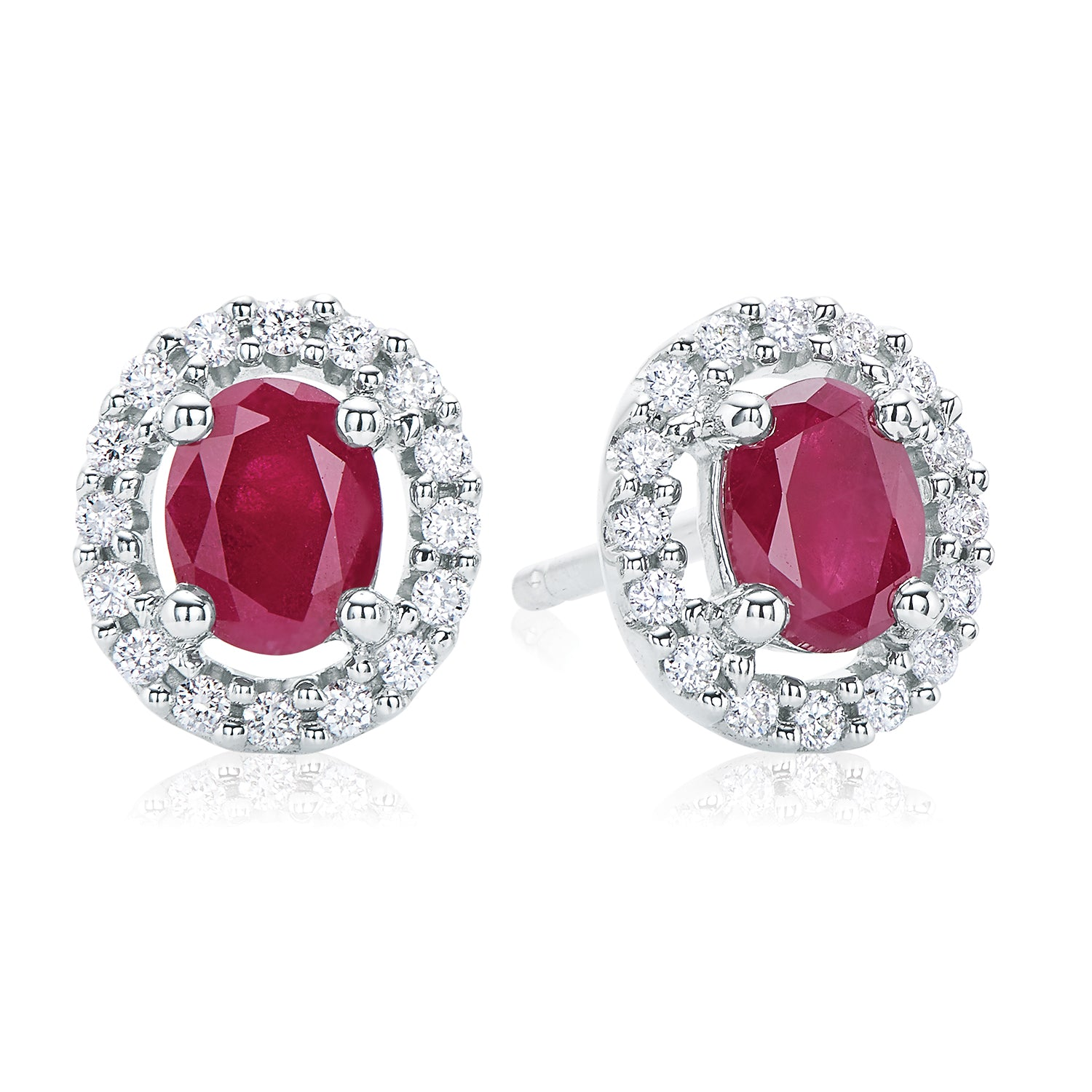 18ct White Gold Oval Cut Ruby with 0.15 CARAT tw of Diamonds