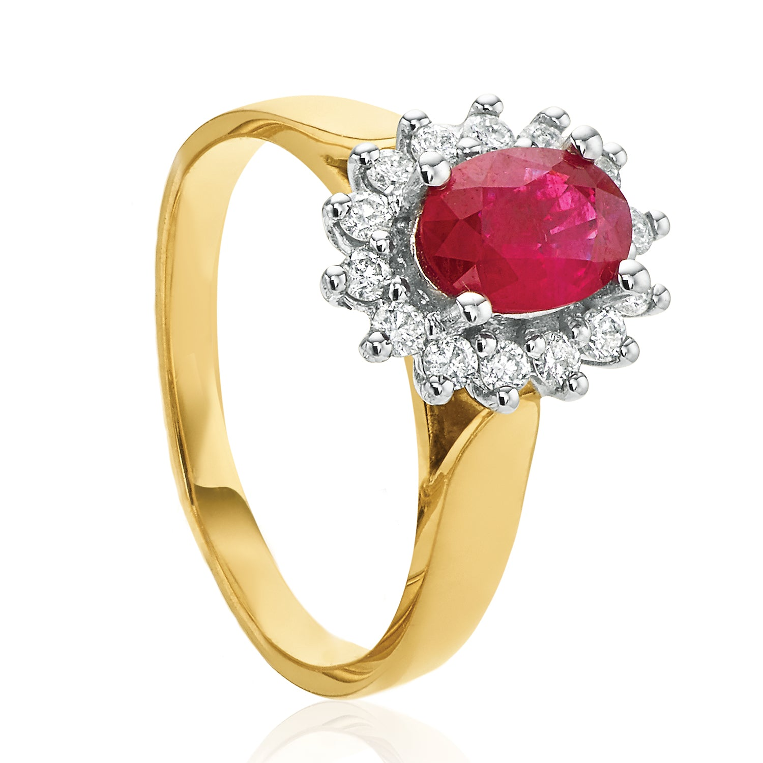 18ct Two Tone Gold Oval Cut Ruby with 1/4 CARAT tw of Diamonds