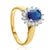 18ct Two Tone Gold Oval Cut Sapphire with 1/4 CARAT tw of Diamonds
