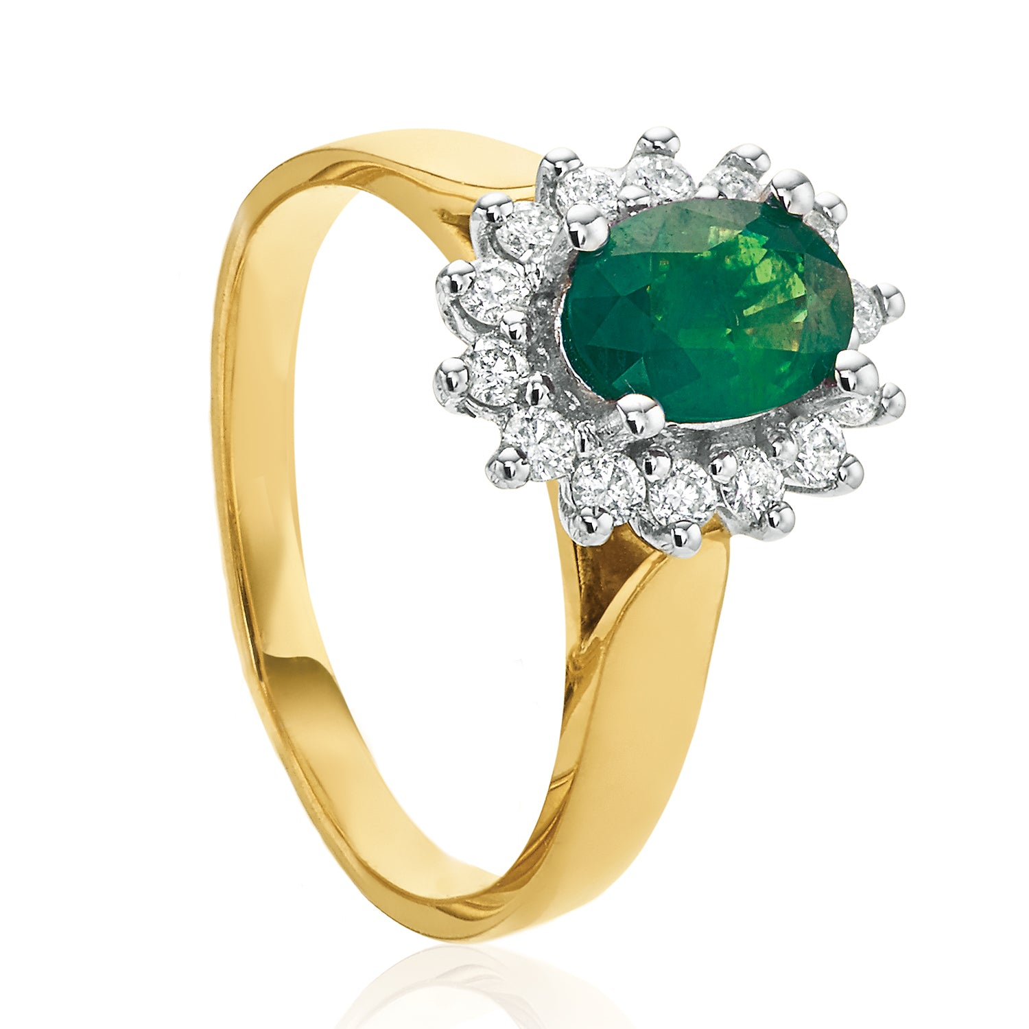 18ct Two Tone Gold Oval Cut Emerald with 1/4 CARAT tw of Diamonds