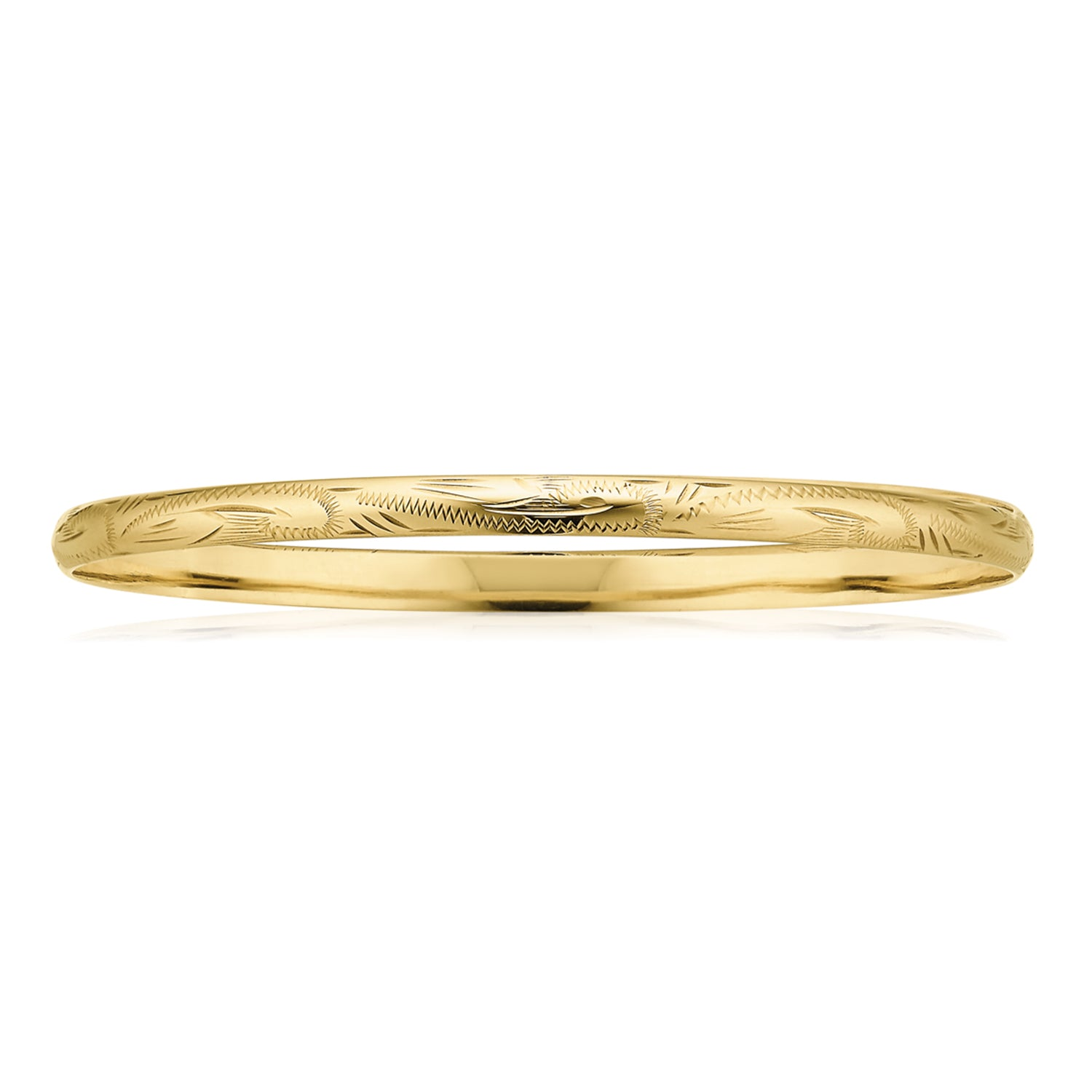 9ct Yellow Gold 63x4mm Solid Engraved