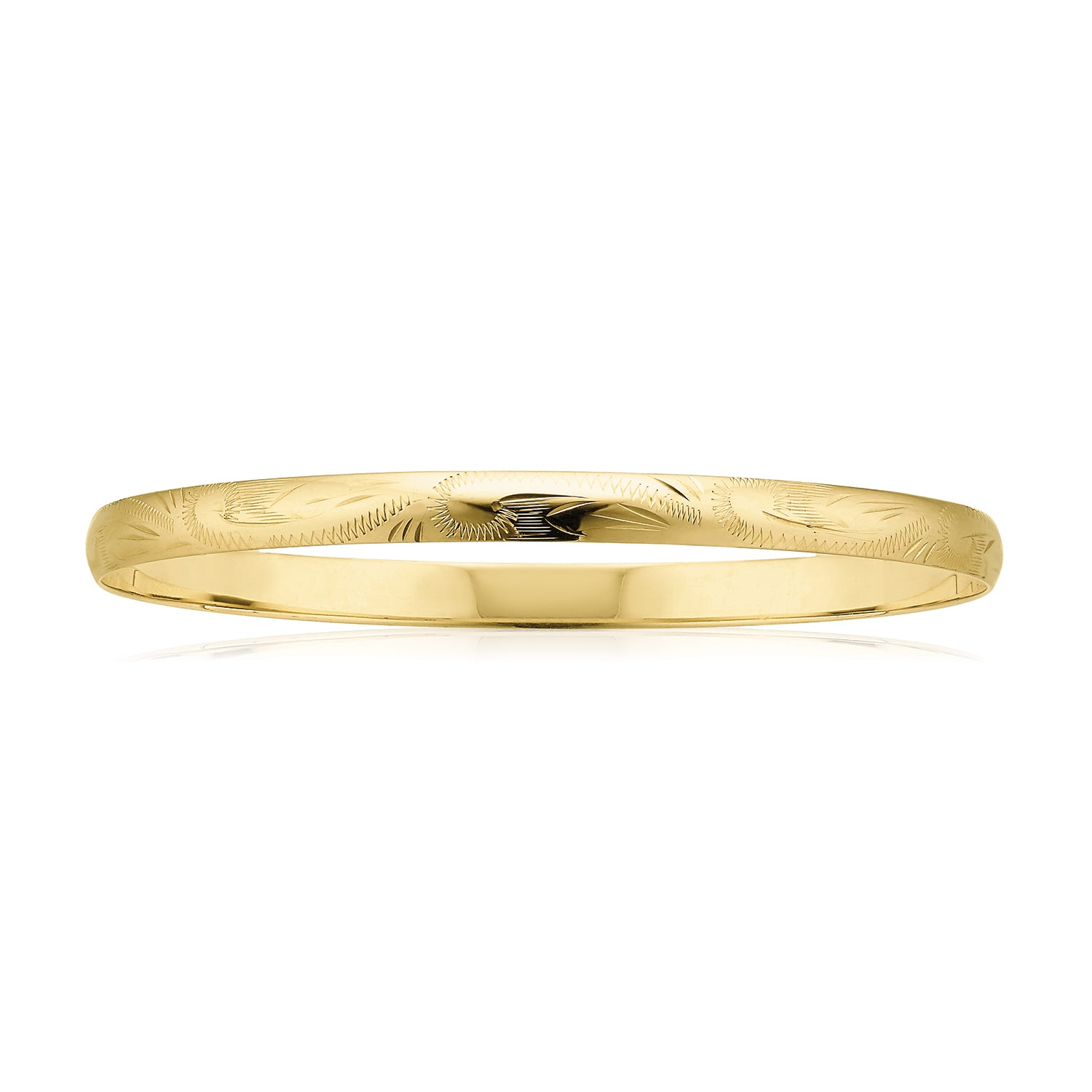 9ct Yellow Gold 65x4mm Solid Engraved