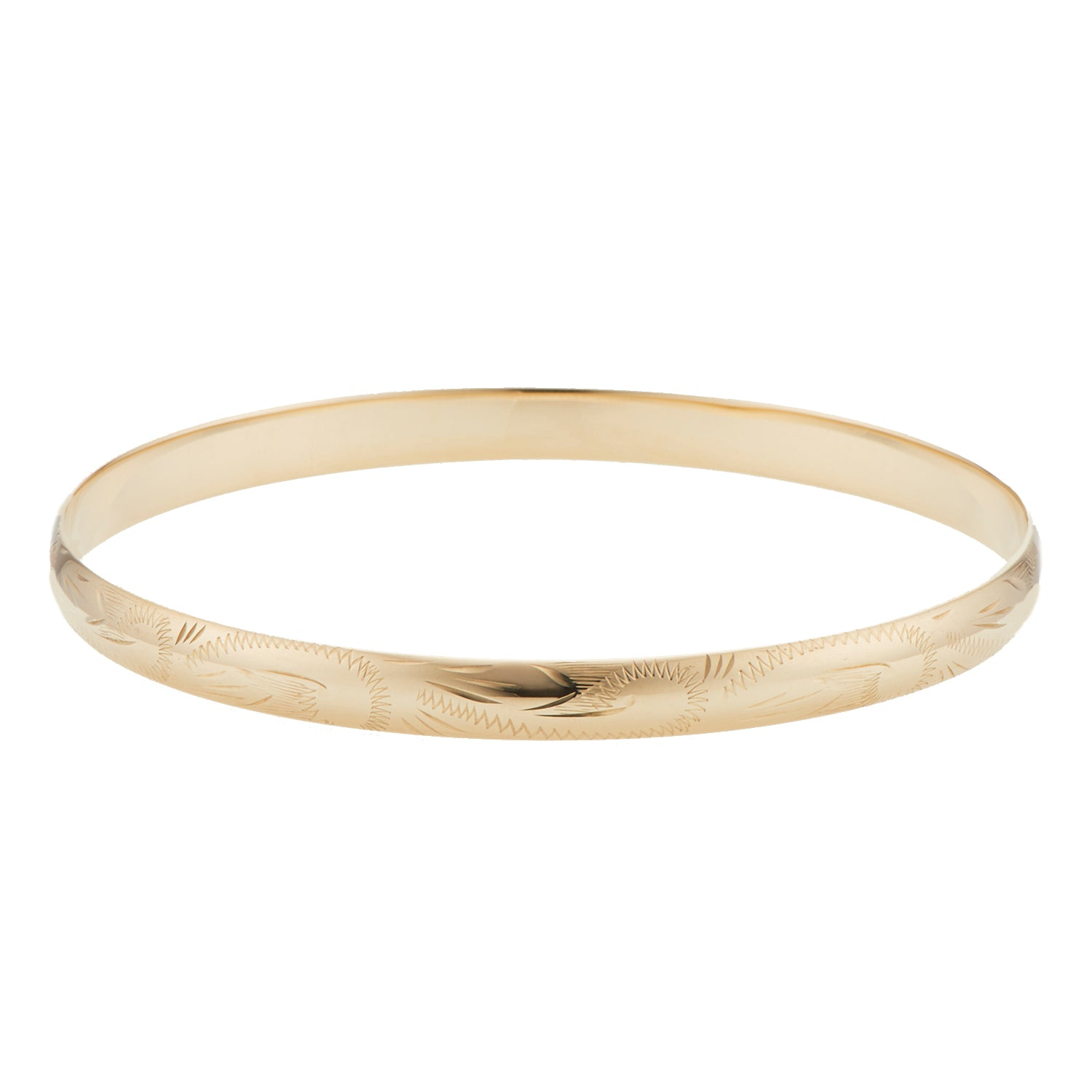 9ct Yellow Gold 68x6mm Solid Engraved