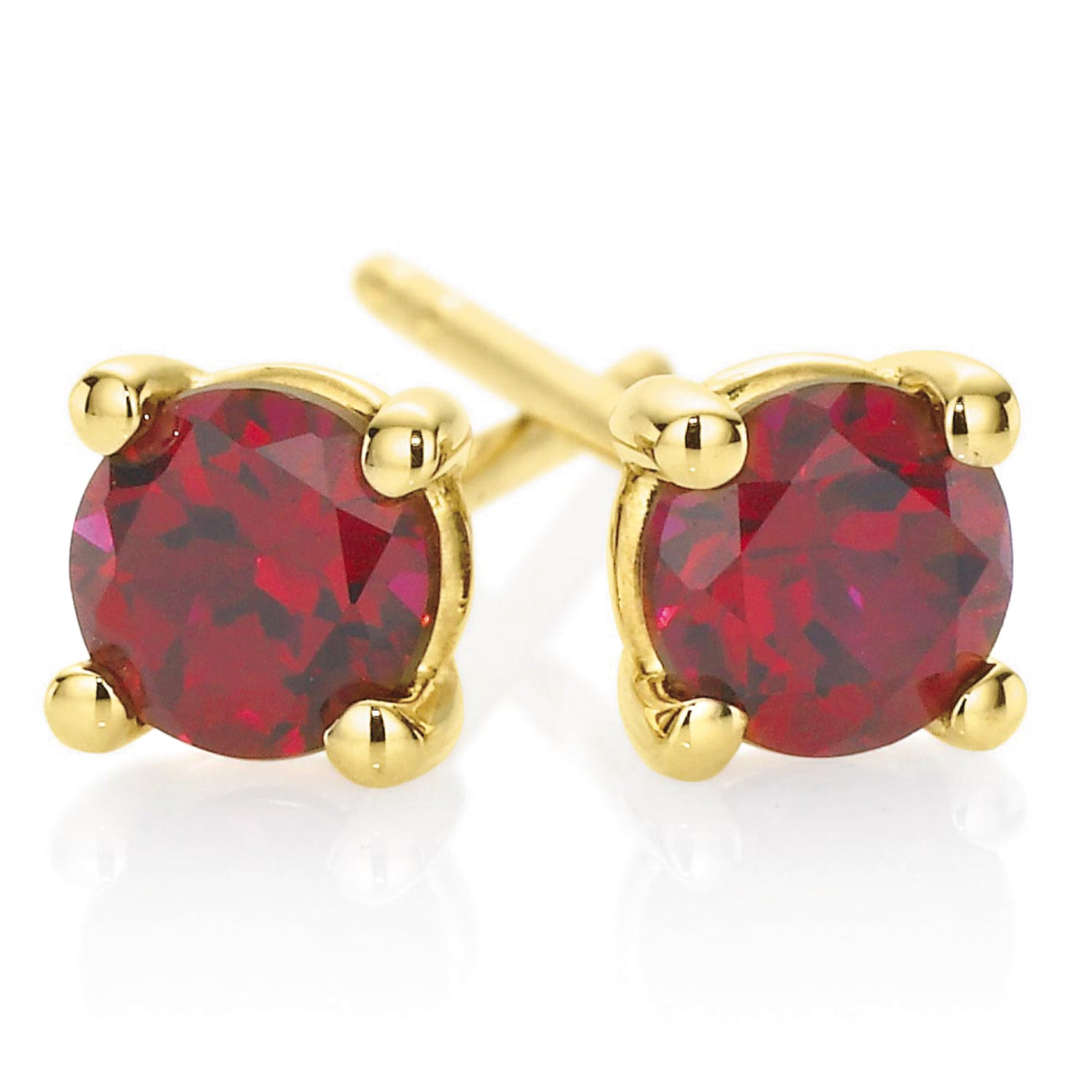 9ct Yellow Gold Round Brilliant Cut Ruby