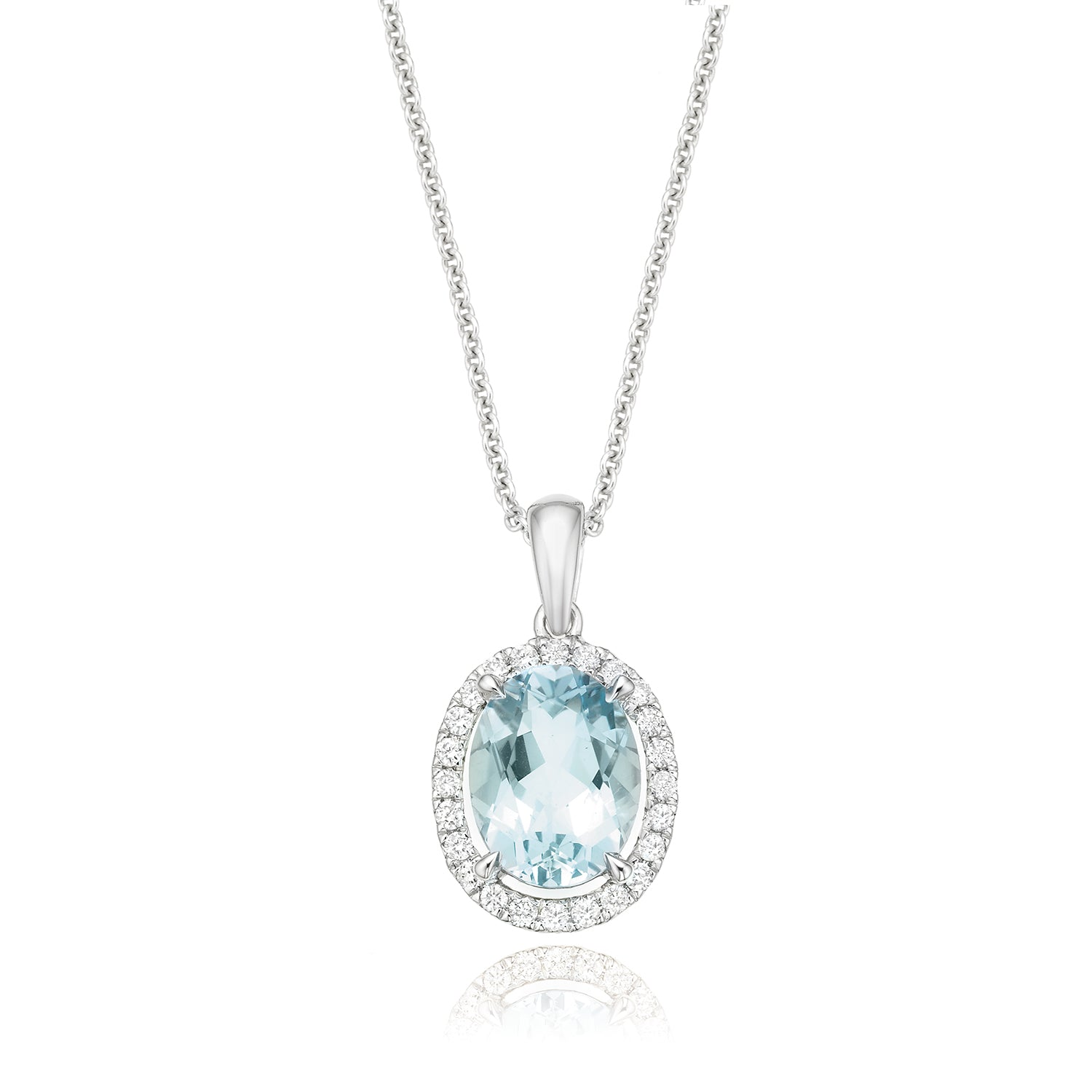 18ct White Gold Oval Cut Aquamarine with 0.15 CARAT tw of Diamond Pendant