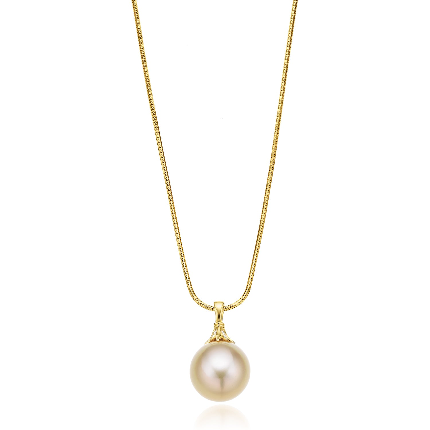18ct Yellow Gold 12-13mm Gold South Sea Pearl Diamond Pendant Set