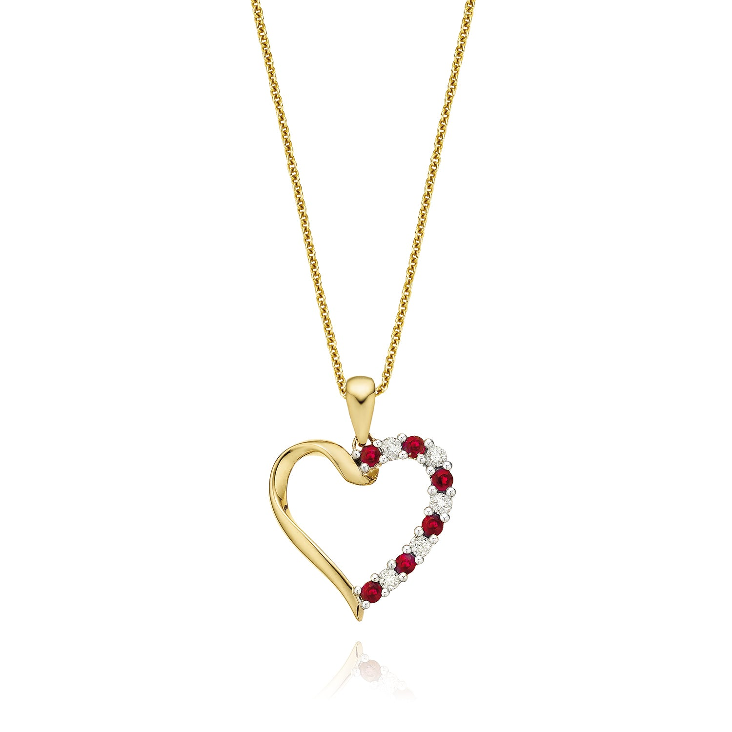 9ct Yellow Gold Round Brilliant Cut Ruby Diamond Pendant Set