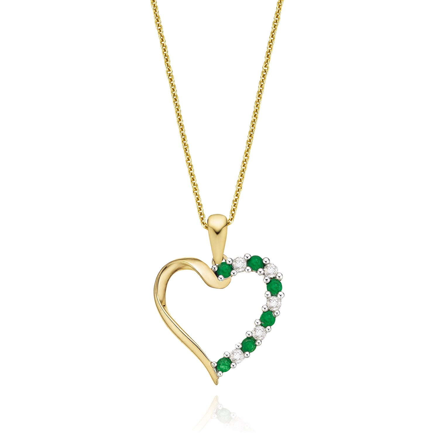 9ct Yellow Gold Round Brilliant Cut Emerald Diamond Pendant Set