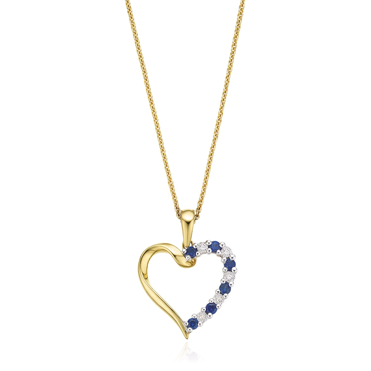9ct Yellow Gold Round Brilliant Cut Sapphire Diamond Pendant Set