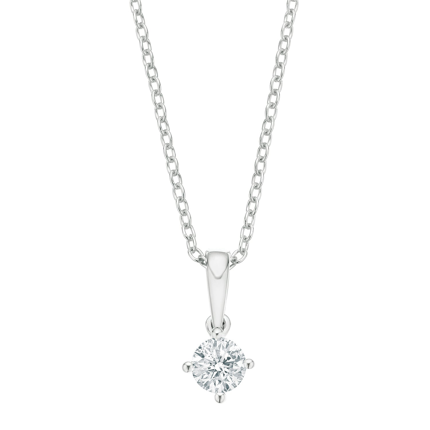 Promise 18ct White Gold Round Brilliant Cut with 1/2 CARAT of Diamond Pendant