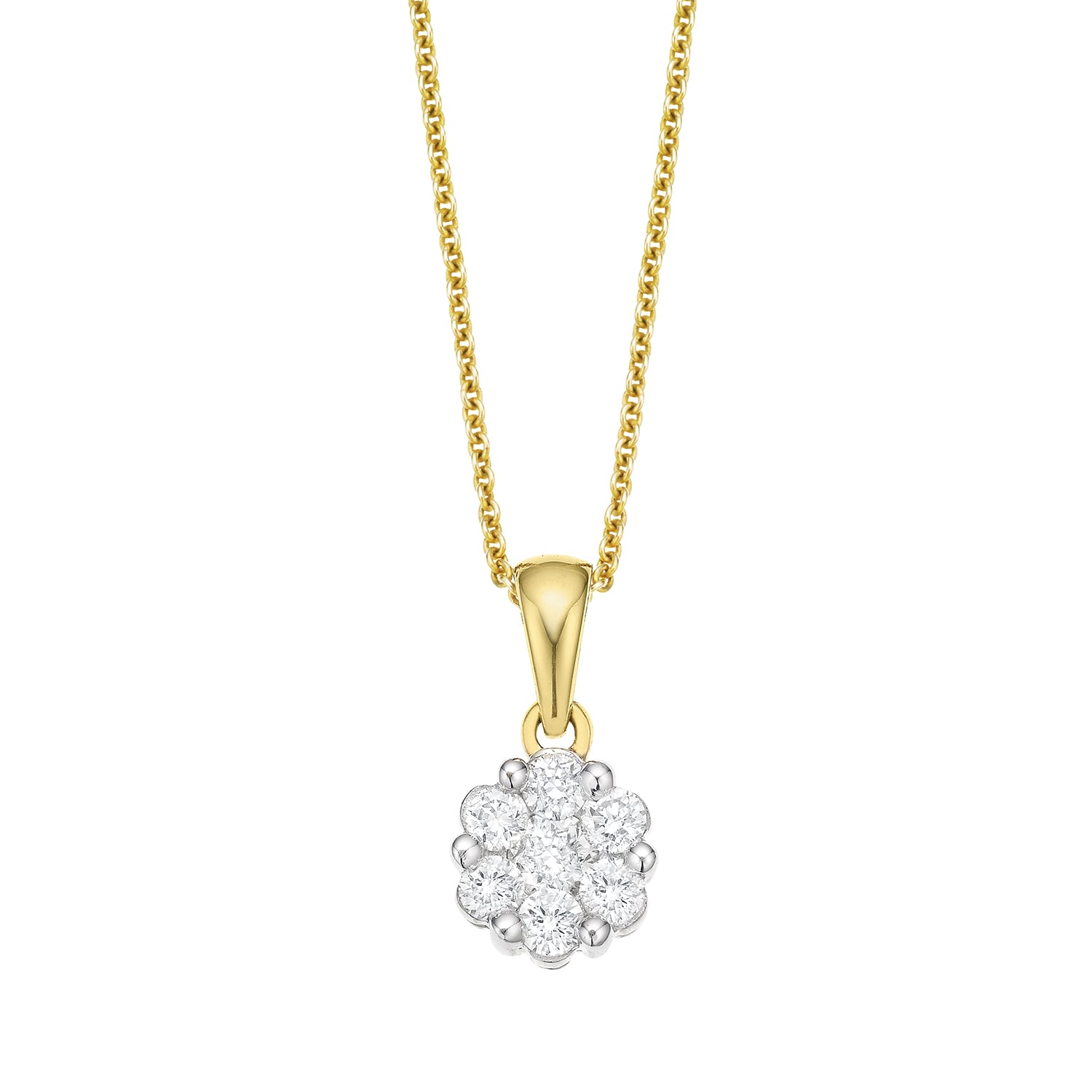9ct Yellow Gold Round Brilliant Cut with 1/4 CARAT tw of Diamond Pendant