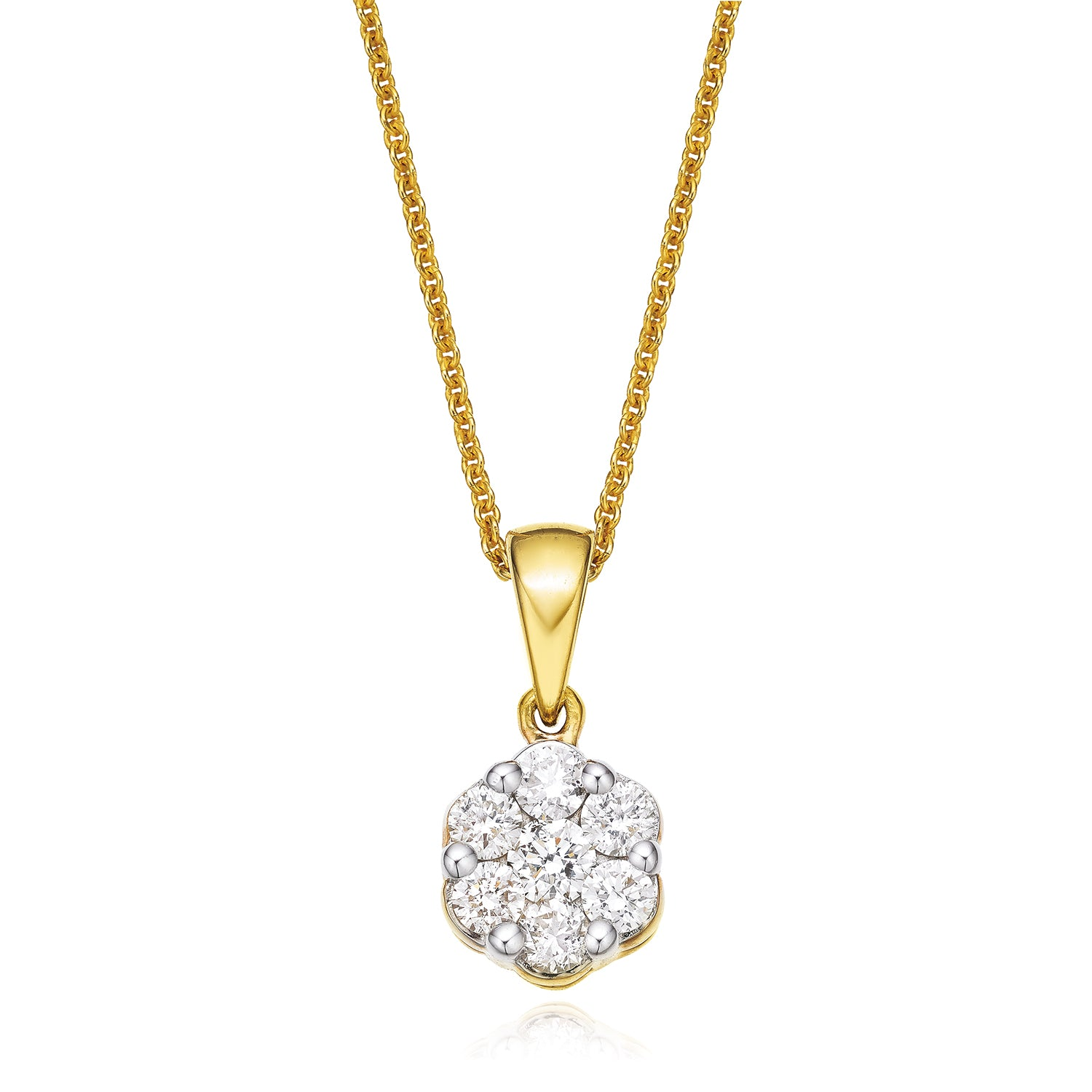 9ct Yellow Gold Round Brilliant Cut with 1/2 CARAT tw of Diamond Pendant